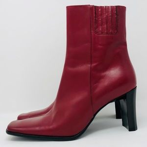 CHARLES DAVID Burgundy Leather Square-Toe Boots